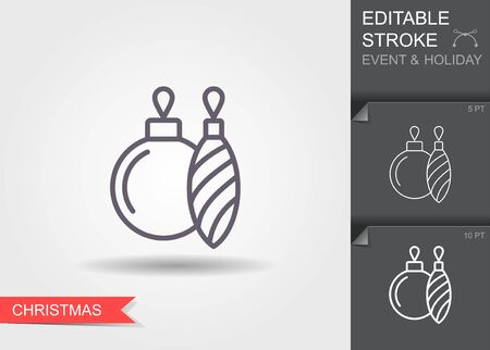 Christmas tree decoration. Line icon with editable stroke with shadow