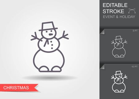 Snowman. Line icon with editable stroke with shadow