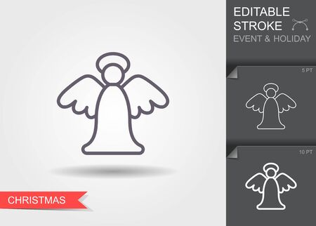 Christmas angel. Line icon with editable stroke with shadow Illustration