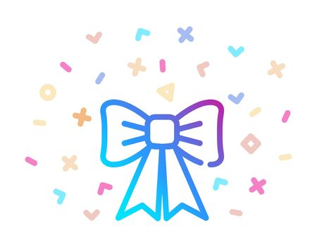 Decorative bow surrounded by festive decor. Vector icon Ilustracja