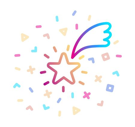 Shooting Star surrounded by festive decor. Vector icon