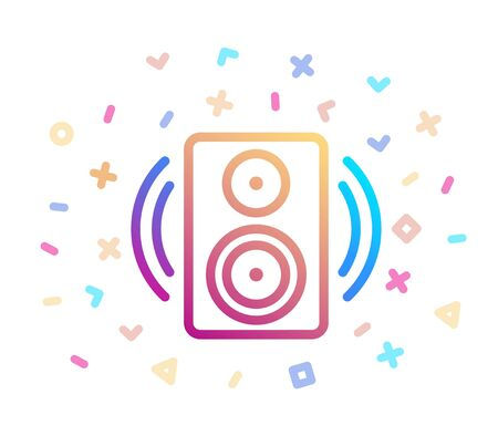 Music speaker surrounded by festive decor. Vector icon