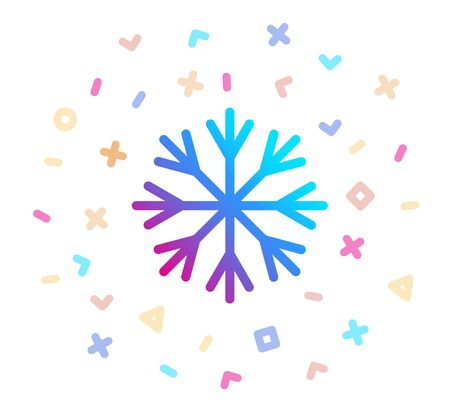 Snowflake surrounded by festive decor. Vector icon