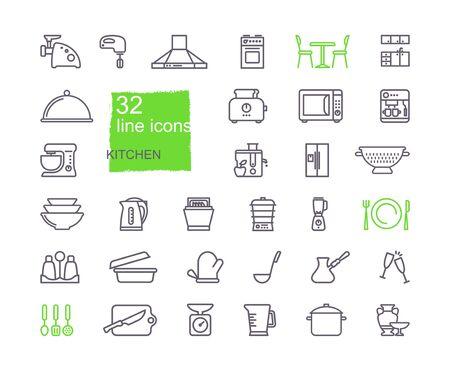 Kitchen Icon set, flat design, thin line style