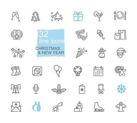 Christmas and New year symbols. Linear icons