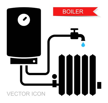 Boiler icons. Vector symbol of heating equipment.