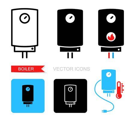 Boiler icons. Vector symbol of heating equipment.