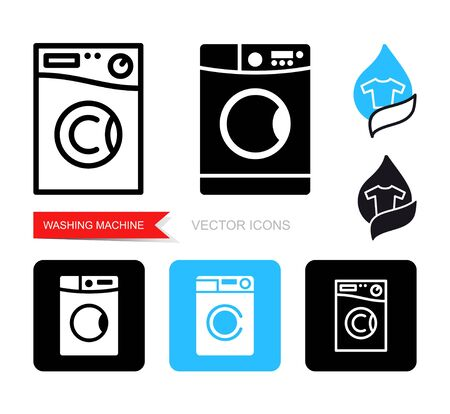 Set of contour and silhouette washing machine icons