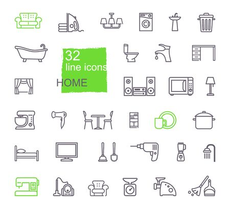 Linear icons of household items. Furniture, appliances, kitchen utensils