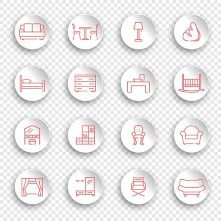 Linear furniture icons on round stickers with transparent shadows