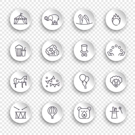 Circus icons in linear style on the round white stickers with transparent shadow