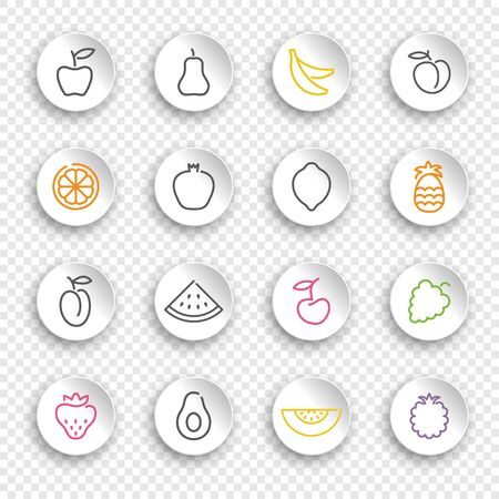 Linear icons of fruits and berries on white stickers with transparent shadows
