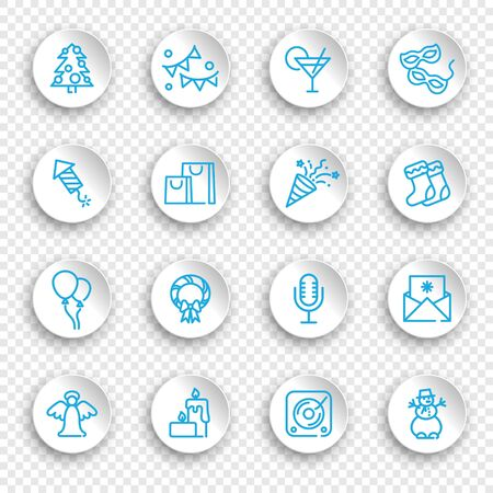 Linear icons of new year and Christmas holidays on white stickers with transparent shadows