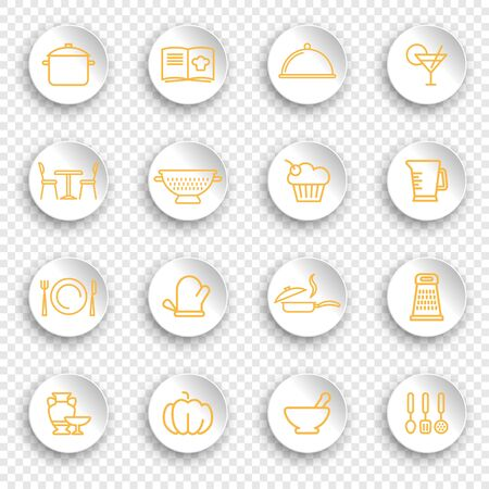 Kitchen and cooking icons on stickers with transparent shadows