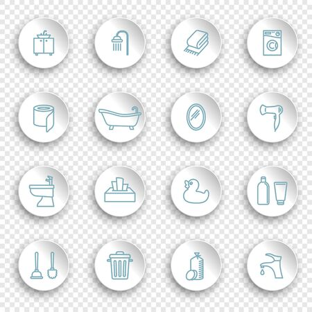 Restroom, Bathroom, Toilet con Set. Linear icons on round stickers with transparent shadows  イラスト・ベクター素材