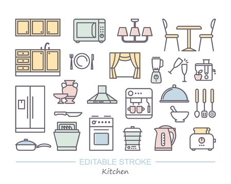 Kitchen Icon set. Linear icons with editable stroke