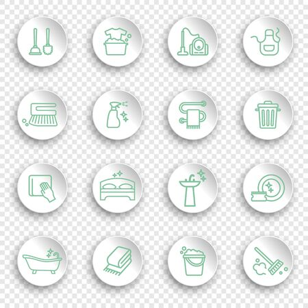 Cleaning and housework linear Icon set on white stickers with transparent shadows