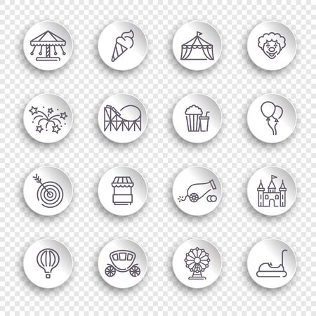 Linear icons on the theme amusement Park on white stickers with transparent shadows Ilustracja