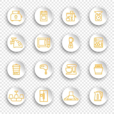 Linear icons of kitchen appliances on white round stickers with transparent shadows