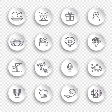 Linear icons of event and holidays on white stickers with transparent shadows