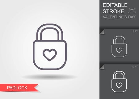 Padlock with heart keyhole. Line icon with editable stroke with shadow