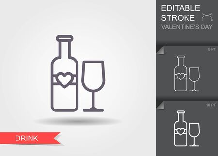 Lovely Wine. Line icon with editable stroke with shadow