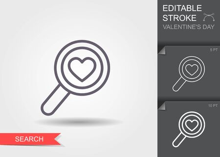 Magnifying glass with Heart. Line icon with editable stroke with shadow Ilustracja