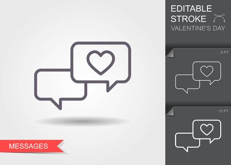 Love chat, romantic dialog. Line icon with editable stroke with shadow Ilustracja