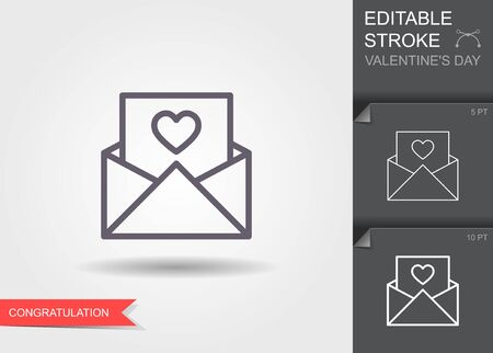 Envelope with heart. Outline icon with editable stroke Linear symbol of the love with shadow Ilustracja