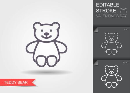 Teddy bear plush toy. Outline icon with editable stroke Linear symbol of the love gift with shadow Ilustracja