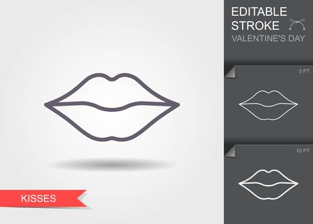 Woman lips. Outline icon with editable stroke Linear symbol of the love with shadow