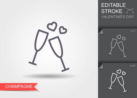 Glass of champagne. Outline icon with editable stroke Linear symbol of the love with shadow