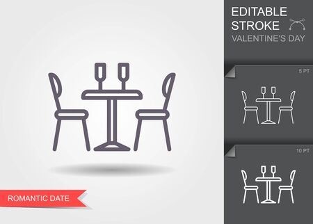 Dining table for date with glasses of wineand chairs. Outline icon with editable stroke Linear symbol of the love with shadow