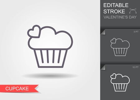 Cupcake. Outline icon with editable stroke Linear symbol of the love with shadow Ilustracja