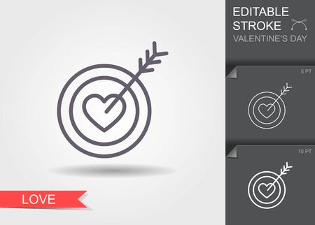 Target in the form of hearts and arrow. Outline icon with editable stroke Linear symbol of the love with shadow