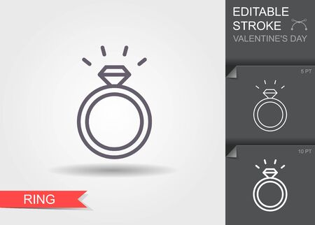 Diamond engagement ring. Outline icon with editable stroke Linear symbol of the love with shadow