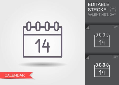 Calendar icon 14 February Valentines day. Outline icon with editable stroke Linear symbol of the love with shadow