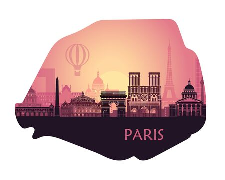Stylized landscape of Paris with Eiffel tower, arc de Triomphe and Notre Dame Cathedral and other attractions. Abstract skyline at sunset in the form of a map of Paris