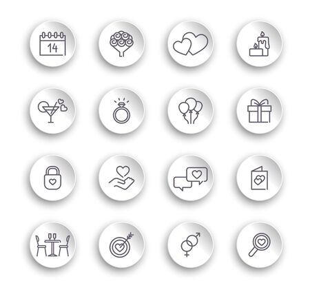 Valentine icon set. Happy valentine day related icons. Set of linear icons on white stickers with transparent shadows