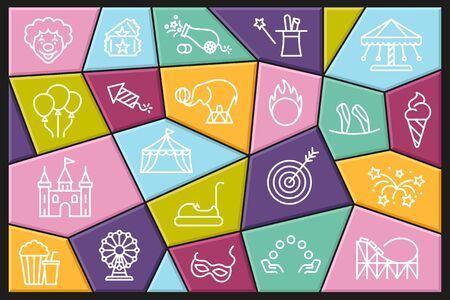 Set of linear icons with editable stroke on the theme of circus and amusement Park Ilustracja