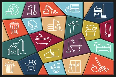 Cleaning and housework Icon set, flat design, thin line style with editable stroke Ilustracja