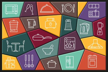 Kitchen Icon set. Linear icons with editable stroke. Vector illustration of tableware, household appliances and kitchen equipment