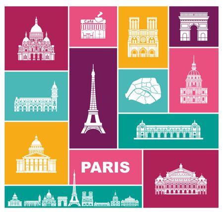 Architectural and historical sights of Paris. Set of color high quality icons. Vector liiustrations
