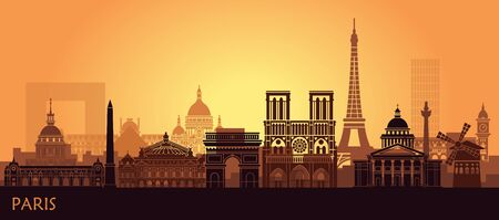 Stylized landscape of Paris with Eiffel tower, arc de Triomphe and Notre Dame Cathedral and other attractions. Abstract skyline at sunset Çizim