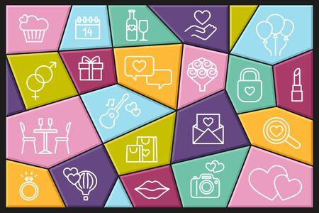 Valentine icon set. Happy valentine day related linear icons Ilustracja