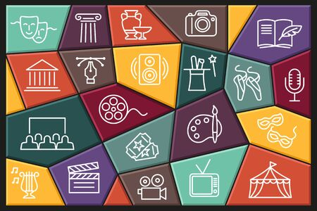 Art and entertainment. Set of linear icons with editable stroke Ilustracja