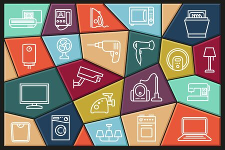 Set of linear icons of home appliances. Collection of vector icons with editable stroke Ilustracja