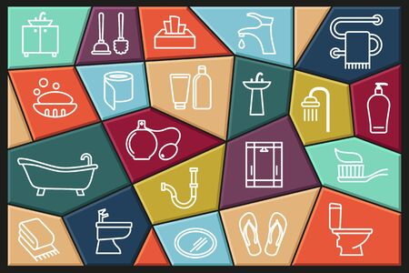 Toilet icon. Bathroom icon. Restroom icon. Vector Illustration in line style. Collection of vector icons with editable stroke