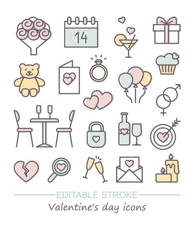 Valentine icon set. Happy valentine day related linear icons with editable stroke