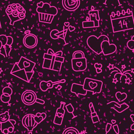 Seamless background with linear Valentine s day symbols Ilustracja